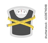 bathroom floor weight scale and ... | Shutterstock .eps vector #610874048