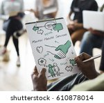 mental health care sketch... | Shutterstock . vector #610878014