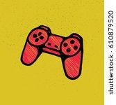 old joystick. games. vector... | Shutterstock .eps vector #610879520