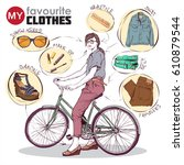fashion infographic. vector... | Shutterstock .eps vector #610879544