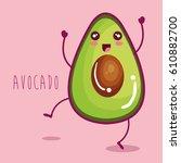 fresh avocado vegetable... | Shutterstock .eps vector #610882700