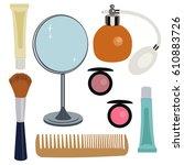 women's cosmetic accessories ... | Shutterstock .eps vector #610883726
