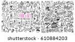 hand drawn food elements. set...   Shutterstock .eps vector #610884203