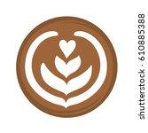 tulip heart and rosetta latte... | Shutterstock .eps vector #610885388