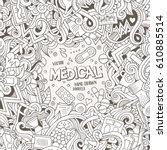 cartoon cute doodles hand drawn ... | Shutterstock .eps vector #610885514