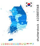 south korea map and flag  ... | Shutterstock .eps vector #610885568
