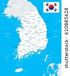 south korea map and flag  ... | Shutterstock .eps vector #610885628