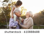 grandparents giving... | Shutterstock . vector #610888688