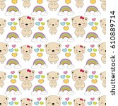 seamless baby pattern with cute ... | Shutterstock .eps vector #610889714