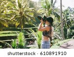young blonde hipster woman... | Shutterstock . vector #610891910