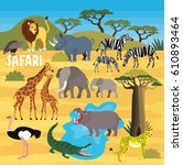 africa safari animal set | Shutterstock .eps vector #610893464