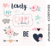 love stickers. signs  symbols ... | Shutterstock .eps vector #610893488