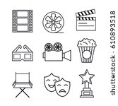 cinema entertainment flat icons | Shutterstock .eps vector #610893518