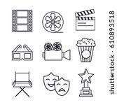 cinema entertainment flat icons | Shutterstock .eps vector #610893518