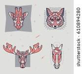 set of thin line animal icons.... | Shutterstock .eps vector #610894280
