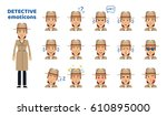 set of detective woman... | Shutterstock .eps vector #610895000