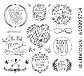 mothers day lettering... | Shutterstock .eps vector #610895714