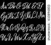 hand drawn font. modern brush... | Shutterstock .eps vector #610896803