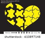 puzzle heart  icon  vector... | Shutterstock .eps vector #610897148