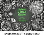 asian cuisine top view frame.... | Shutterstock .eps vector #610897550