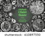 asian cuisine top view frame.... | Shutterstock .eps vector #610897550