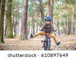 happy kid boy of 3 or 5 years... | Shutterstock . vector #610897649