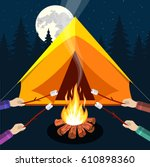 bonfire with marshmallow. logs... | Shutterstock .eps vector #610898360