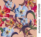 tropical flowers background...   Shutterstock .eps vector #610902488