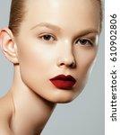 beauty woman face. portrait of... | Shutterstock . vector #610902806