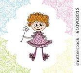 cute cartoon fairy. vector... | Shutterstock .eps vector #610903013