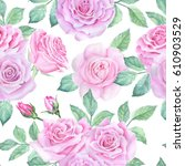 watercolor flower pattern | Shutterstock . vector #610903529