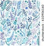 watercolor floral pattern...   Shutterstock . vector #610906160