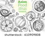 asian cuisine top view frame.... | Shutterstock .eps vector #610909808