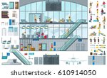 flat airport infographic... | Shutterstock .eps vector #610914050