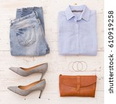 top view on woman's fashion... | Shutterstock . vector #610919258