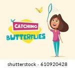 happy girl catching butterflies....