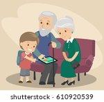 the grandson teaches... | Shutterstock .eps vector #610920539