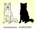 Stock vector the sitting cheerful dog a male of breed a japanese akita inu manual contour line and a black 610922504