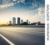 empty asphalt road of a modern... | Shutterstock . vector #610927640