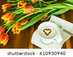 greeting card with cup of... | Shutterstock . vector #610930940