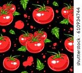 juicy tomatoes seamless pattern.... | Shutterstock .eps vector #610934744