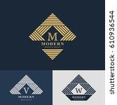 modern logo design. geometric... | Shutterstock .eps vector #610936544