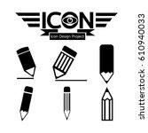 pencil icon | Shutterstock .eps vector #610940033