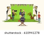 movie making flat composition... | Shutterstock .eps vector #610941278