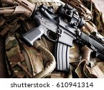 tactical carbine on the... | Shutterstock . vector #610941314