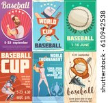 set of baseball posters in... | Shutterstock .eps vector #610942538
