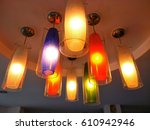 colorful lamps on the ceiling... | Shutterstock . vector #610942946