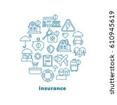 insurance home and property...   Shutterstock .eps vector #610945619