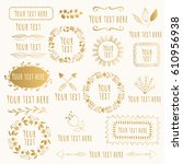hand drawn floral elements ... | Shutterstock .eps vector #610956938