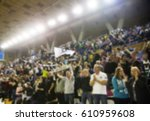 blurred background of crowd of... | Shutterstock . vector #610959608